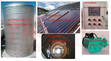 China 3000L 5000L Centralized Solar Water Heater Blue Coating Flat Plate Solar Collector factory